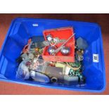 A Mixed Lot of Assorted Costume Jewellery, etc in small storage box.