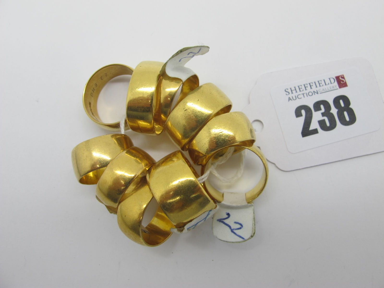 22ct Gold Plain Wide Wedding Bands, (finger sizes noted L, M, O). (10)