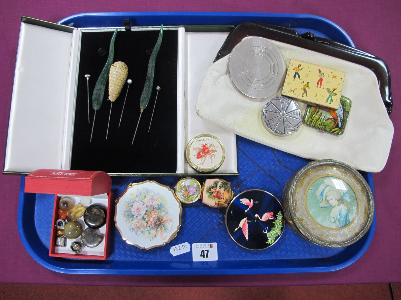 Two Stratton Powder Compacts, of various designs, a Shalimar powder box, of textured design, and