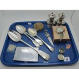 Plated Ware, including fiddle pattern basting spoon, cruet, vintage Mauritius engine turned