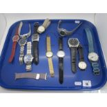 Citizen Eco-Drive, Accurist, Pulsar, McKenzie and other modern gent's wristwatches :- One Tray