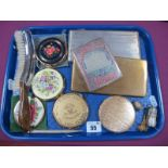 Powder Compacts, cigarette cases including Middle Eastern example allover decorated, crumb brush,