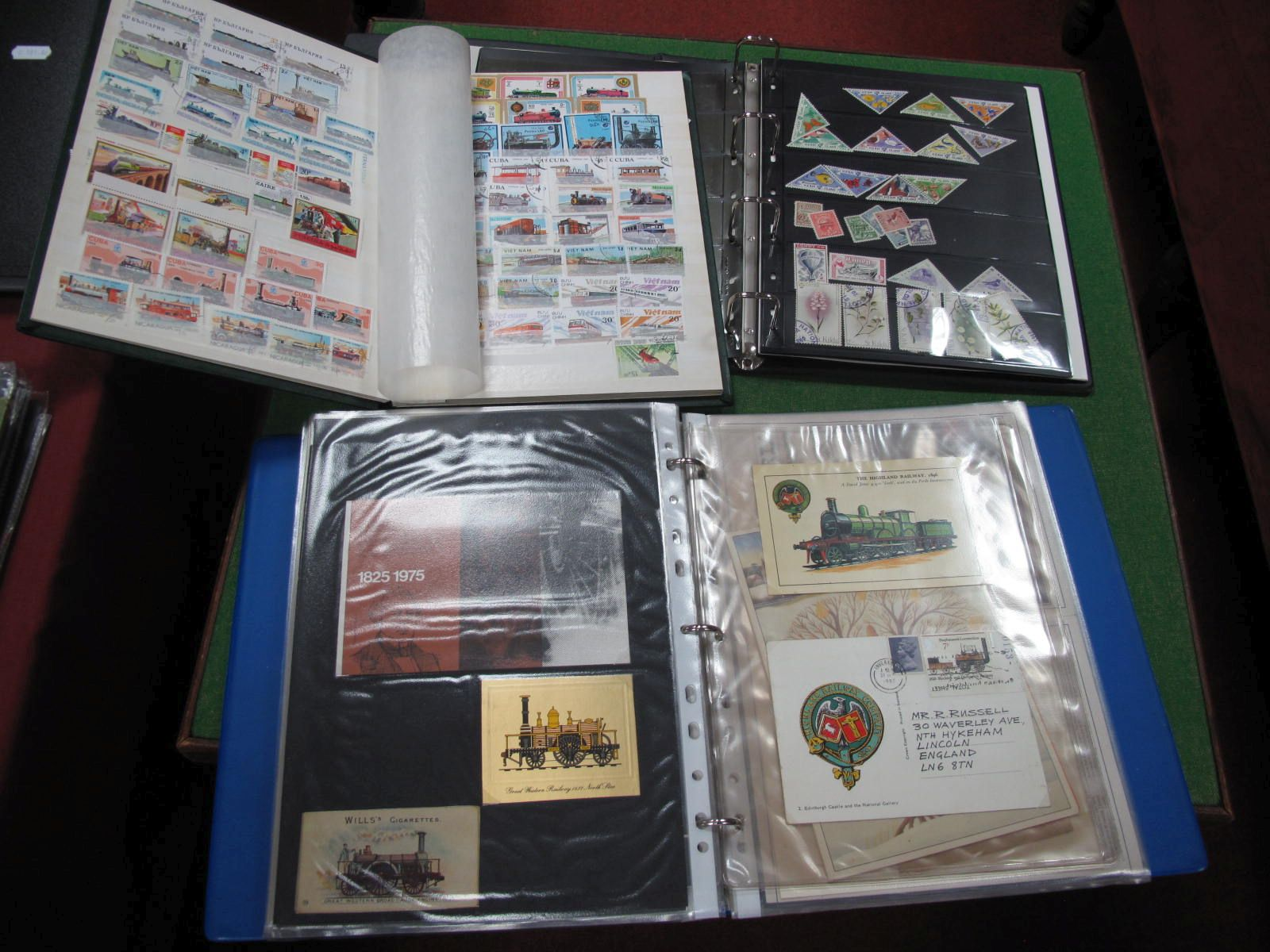 Railway Stamps and Memorabilia, in three albums including local interest North York Moors Railway,