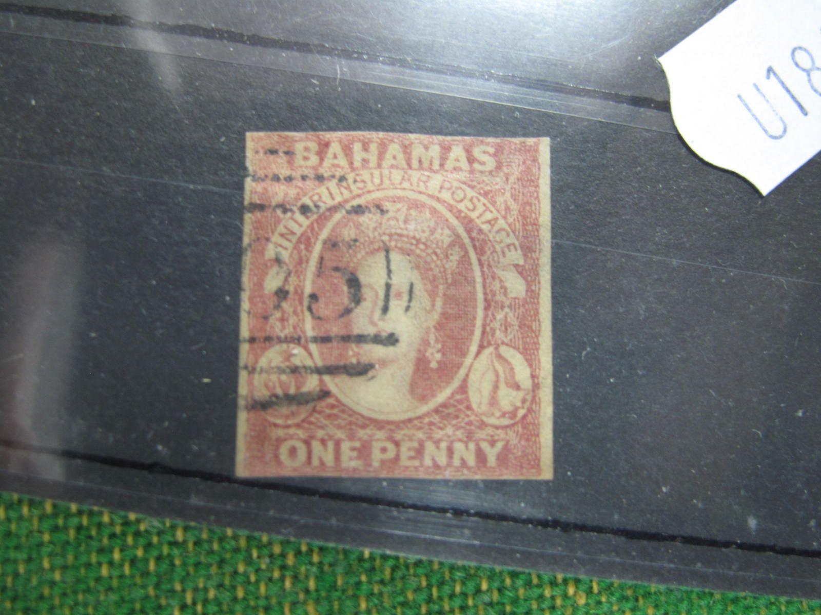 Bahamas SG1, 1859 Thick Opaque Paper 1d Reddish Lake FU 2 margin, cat £2250