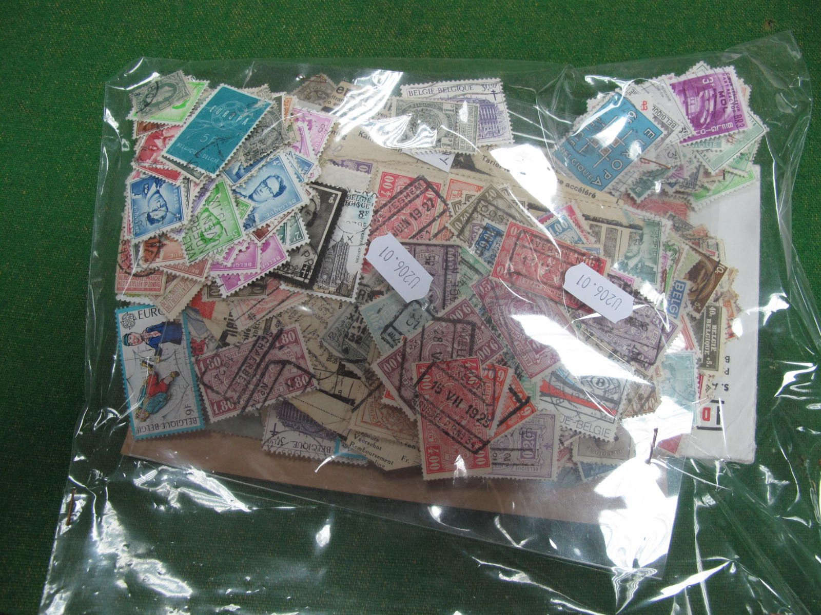 A Collection of Belgium Stamps, mainly used in a plastic bag, many hundreds including Railway