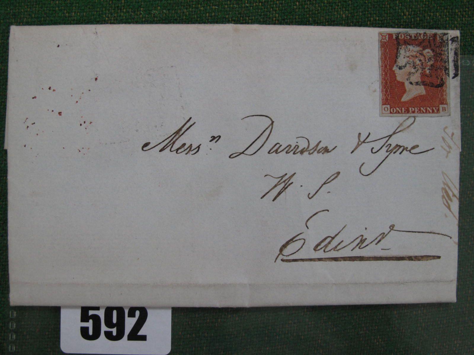 1841 1d Red 4 Margin 0 - 13, Perth MX cover, cat £700.