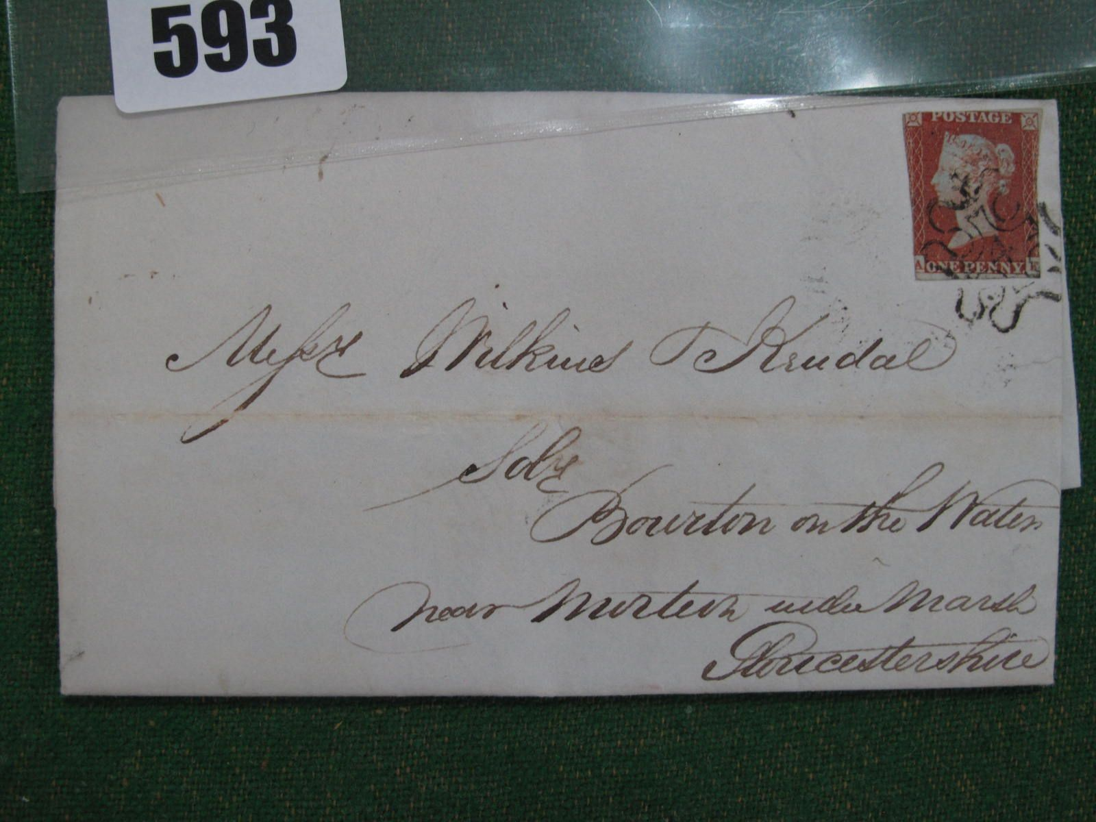 1841 1d Red 4 in MX on Cover, cut into VG strike cat £600