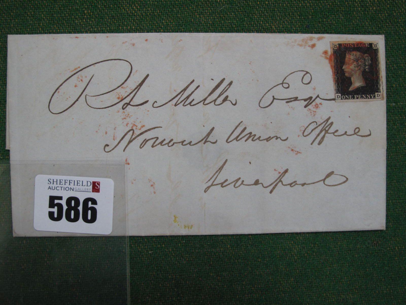1840 1d Black DD Four Margin Plate, 6 entire, cat 775.