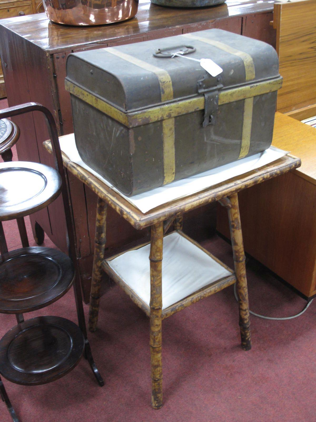 A Bamboo Occasional Table, tin trunk, 40.5cm wide. (2)