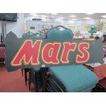 A Mid XX Century Hand Painted Fairground Style Sign for Mars (Chocolate Bar), 41 x 121cm.