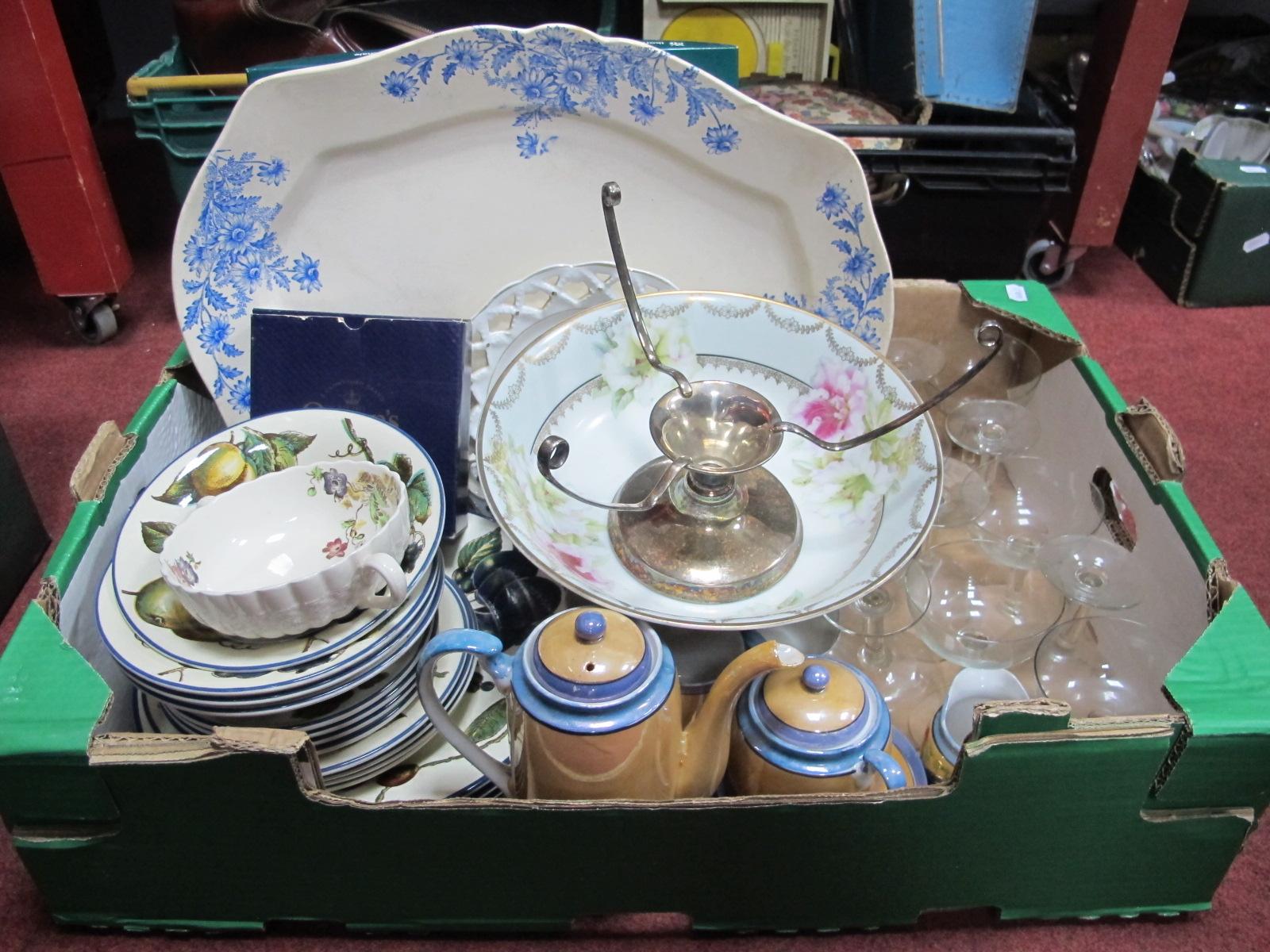 Staffordshire Tableware, meat plate, Japanese tea ware, glassware:- One Box.