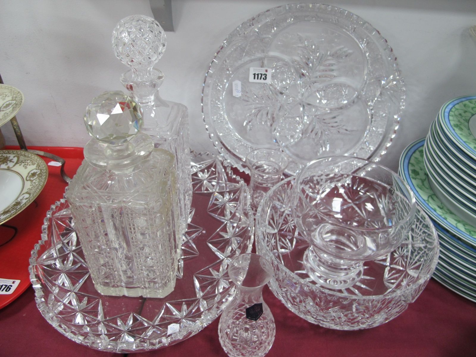 Two Cut Glass Platters, two decanters, Dartington, Stuart, other glassware.