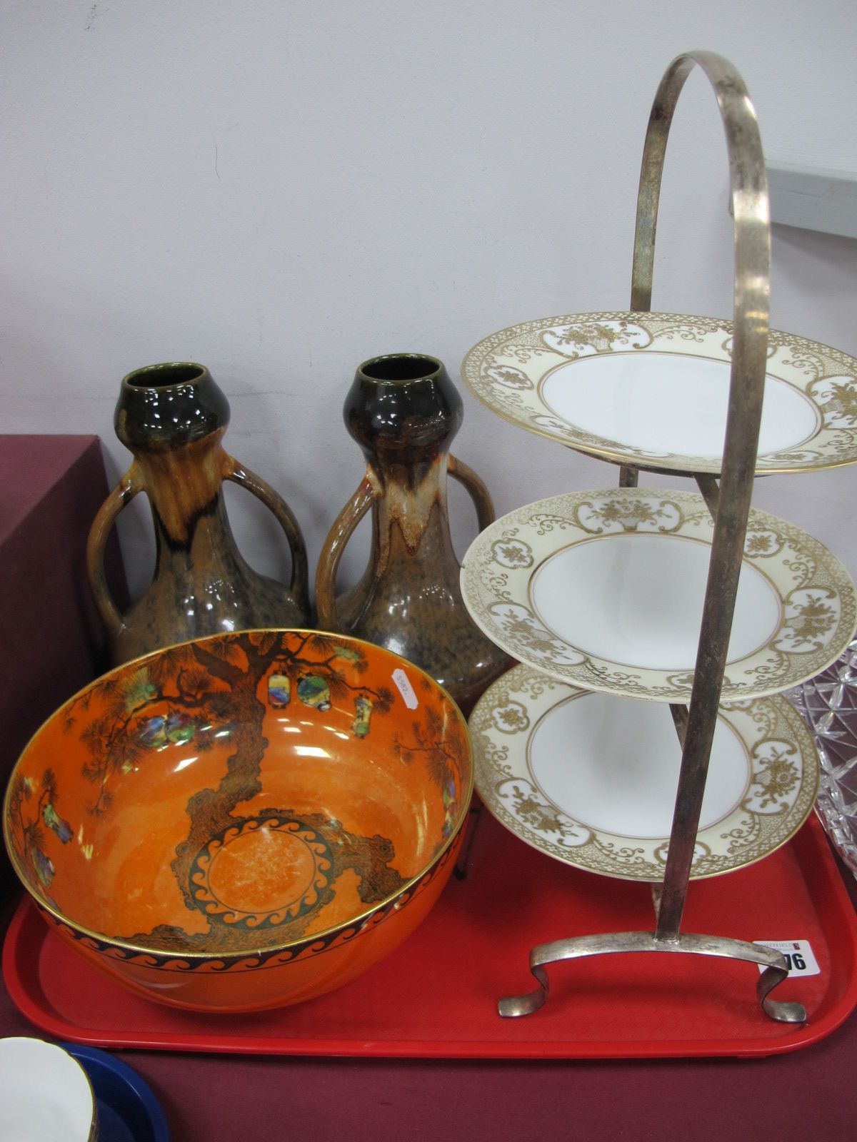 A Wilkinson Orange Lustre Fruit Bowl, with lantern decoration, Noritake three tier cake stand,