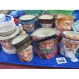 Royal Doulton Small Character Jugs, including 'Tony Weller', 'Fat Boy', Mr Pickwick, Beam Whiskey,
