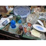 A XIX Century Meat Plate, plates, glassware, glass floats:- Three Boxes.