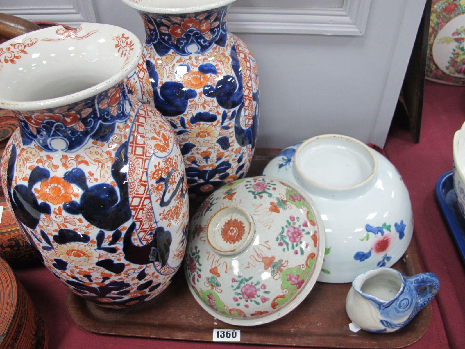 A Pair of XIX Century Imari Pottery Vases, 31cm high (damages). Chinese fruit bowl (cracked), fish
