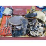 Ladies Dressing Table Mirrors, tin of vintage buttons, etc:- One Tray