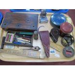 Hardstone Seal, rosewood case with pens and nibs, scissors in case, desk calendar, bakelite