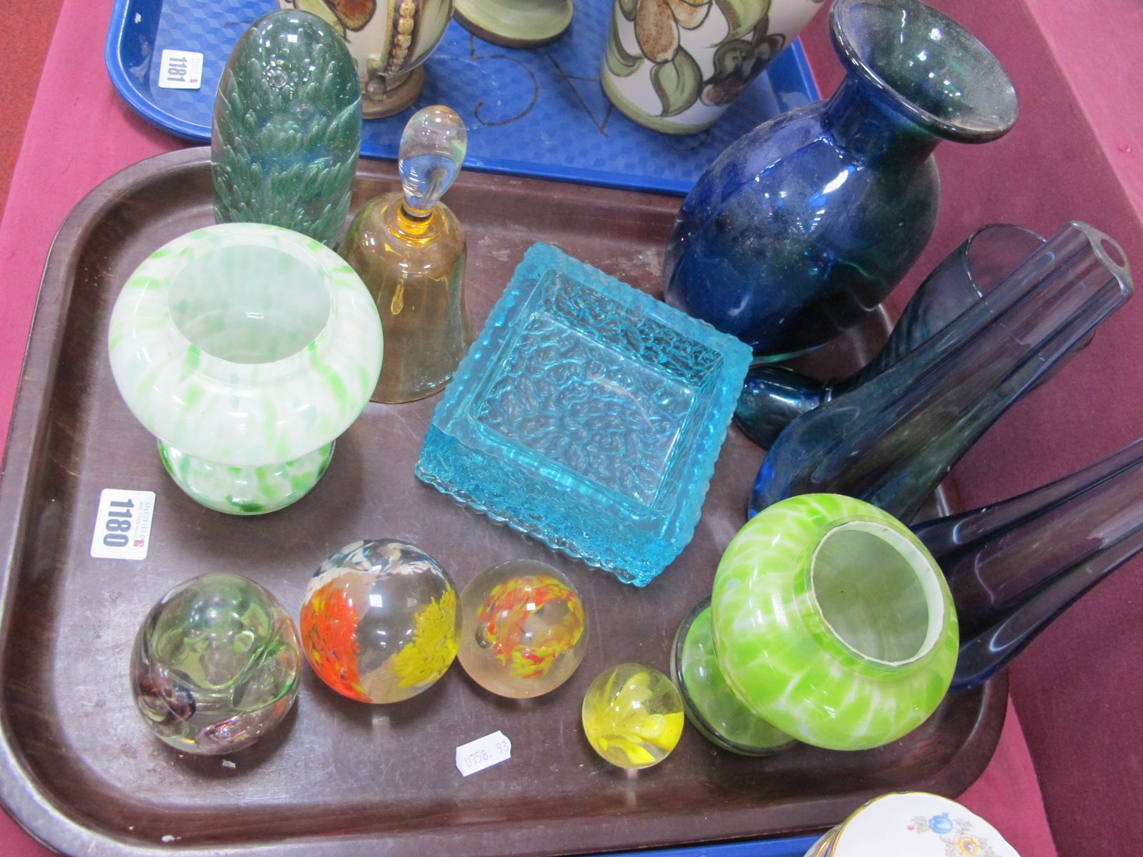 Glass Dump with Bubble Inclusion, 14.6cm high (bruised), Italian vases, turquoise boat, posy,