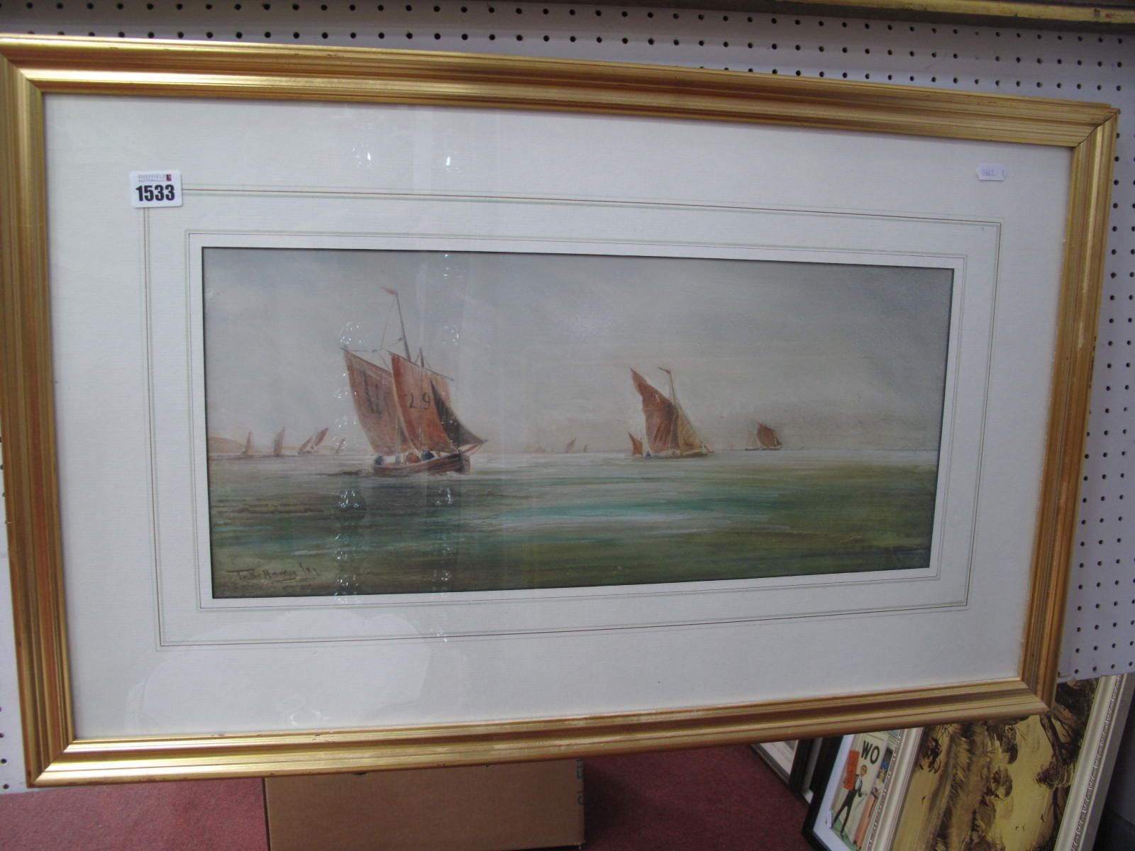 In The Manner of T.B Hardy, Shipping in Tranquil Waters, watercolour 23 x 53cm.