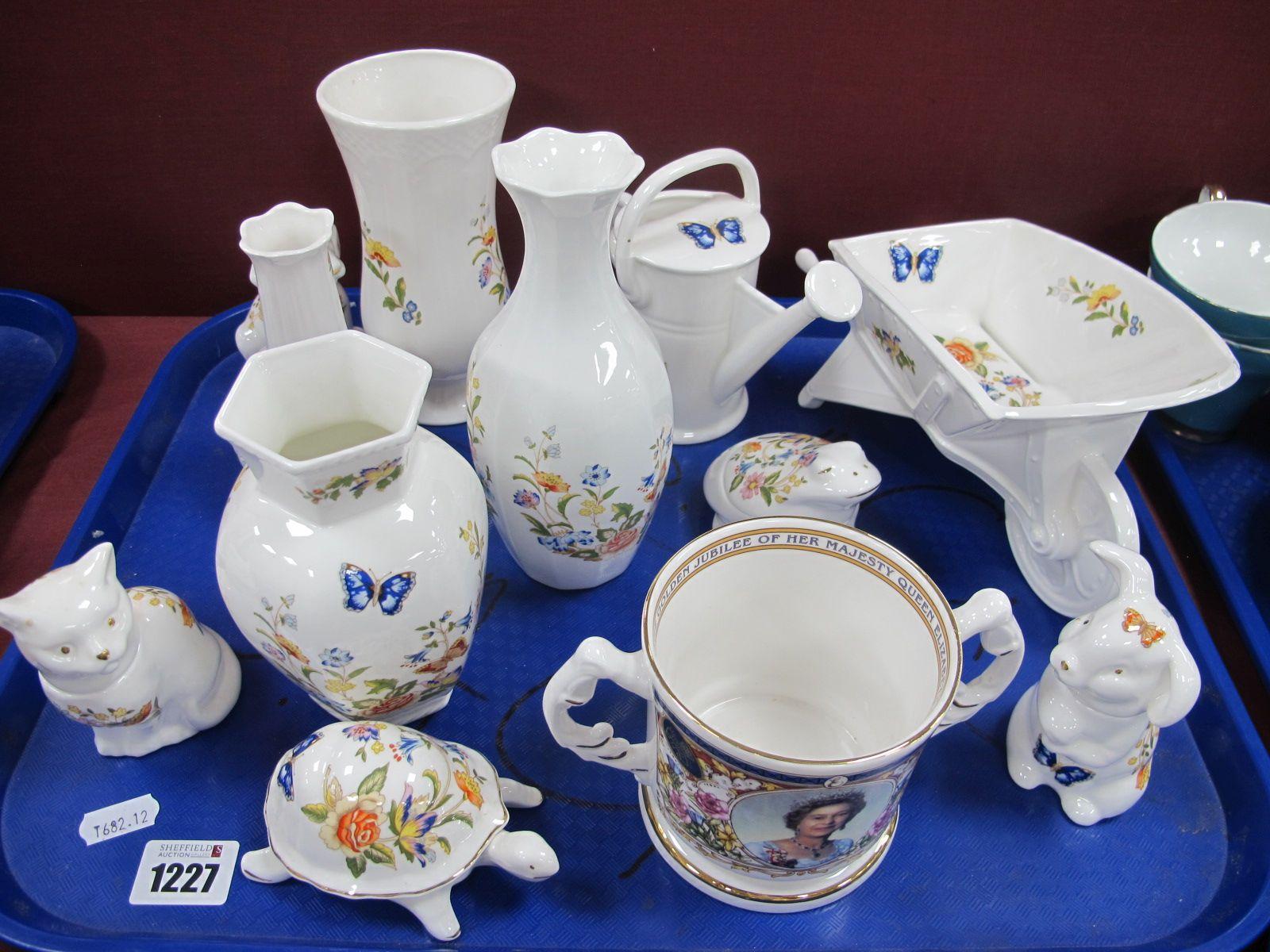 Aynsley 'Cottage Garden' Wheelbarrow, vase, watering can, etc:- One Tray.