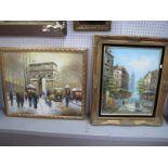 Bernard, Parisian Street Scene, oil on canvas, 50 x 38.5cm, signed lower right, another Ivan L'Arc