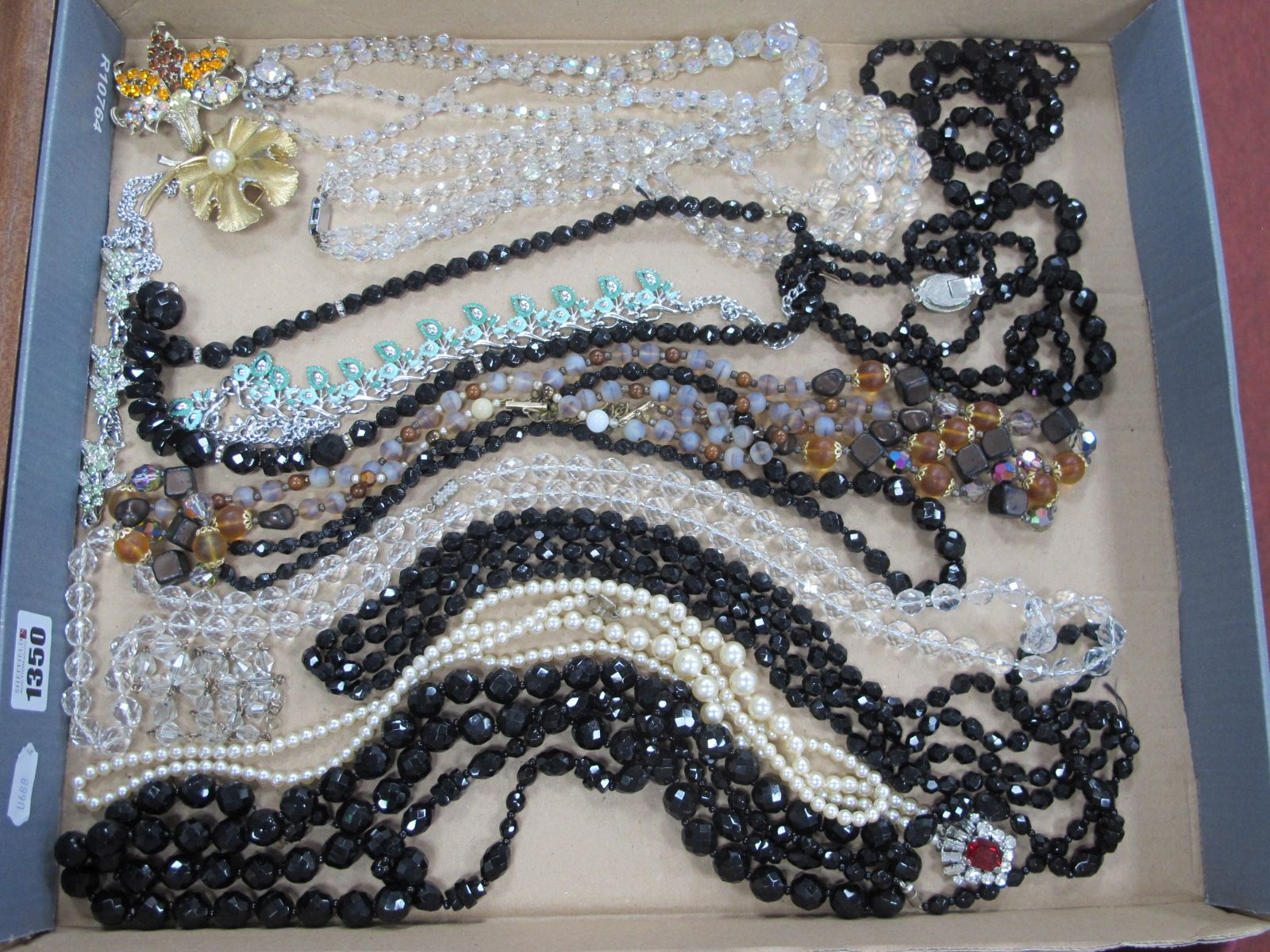 Necklaces - black and clear bead, faux pearl, two brooches, etc.