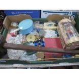 Ladies Compacts, cottons, beaded purse, dome topped box, fans, etc:- One Tray