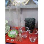 Scandinavian Heavy Glass Posy Bowls, 11cm high, Art Deco deep blue glass vase (damaged), other