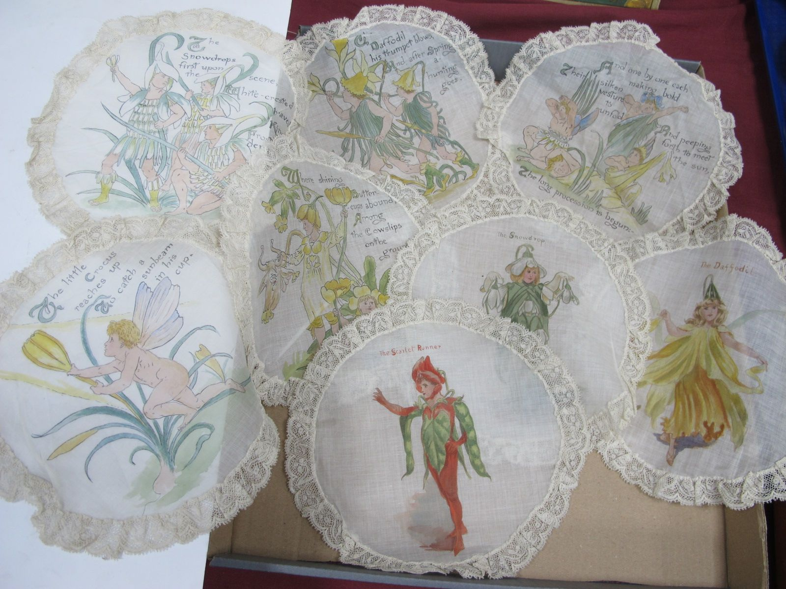 Late XIX Century Silk and Lace Dollies, with hand painted children, dressed as a daffodil and a