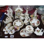 Royal Albert Old Country Roses, mantle clock, pair of spill vases, jar-cover, etc:- One Tray.