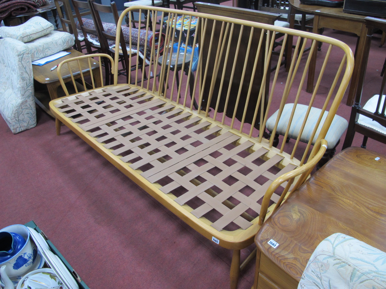 Ercol Light Wood Three Seater Settee, having rail back and splayed squat feet, approximately 192cm - Image 3 of 3