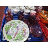 A XIX Century Cranberry Glass Decanter, oil bottle, jug, bowl and two tumblers, XIX Century hand