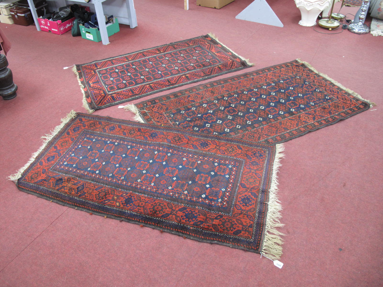 Middle Eastern Wool Tasseled Rugs, all similar with deep blue motifs, white central pips on a deep - Image 2 of 2