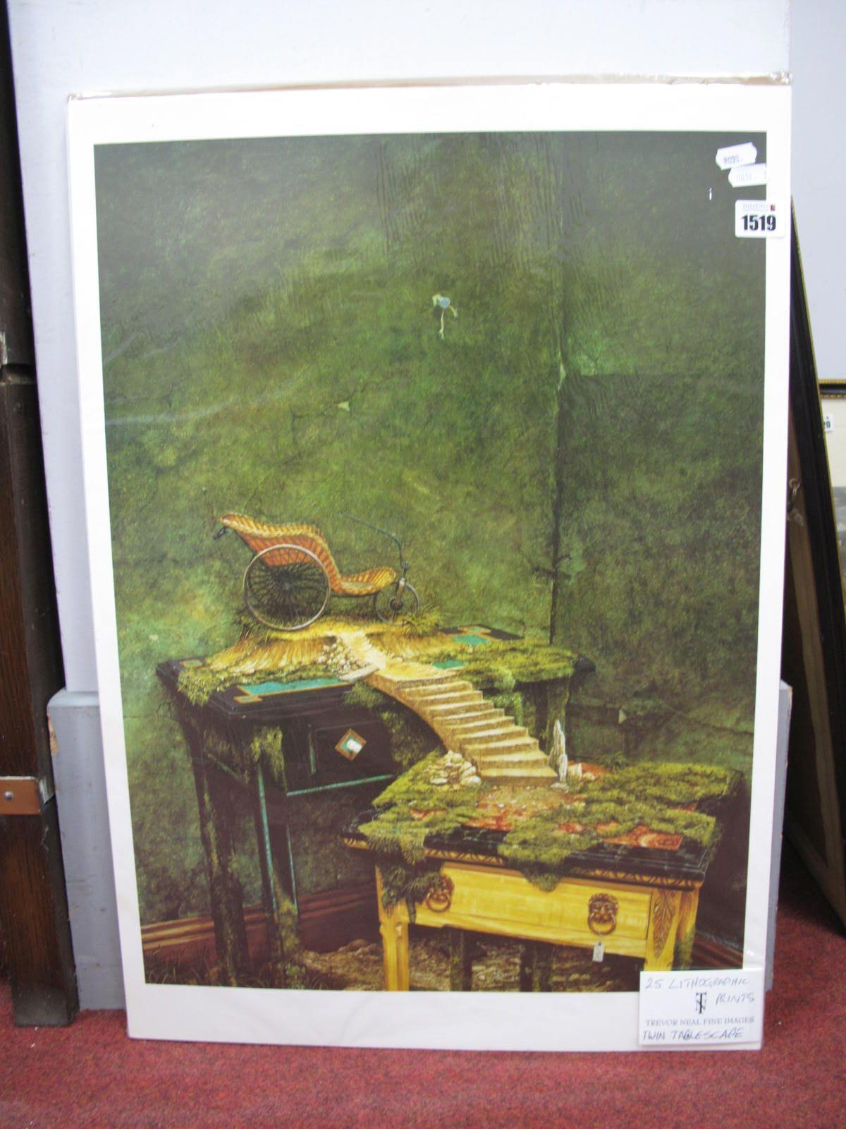Trevor Neal (Sheffield Artist) 'Twin Tablescape' Lithographic Prints, images 57 x 42cm, twenty