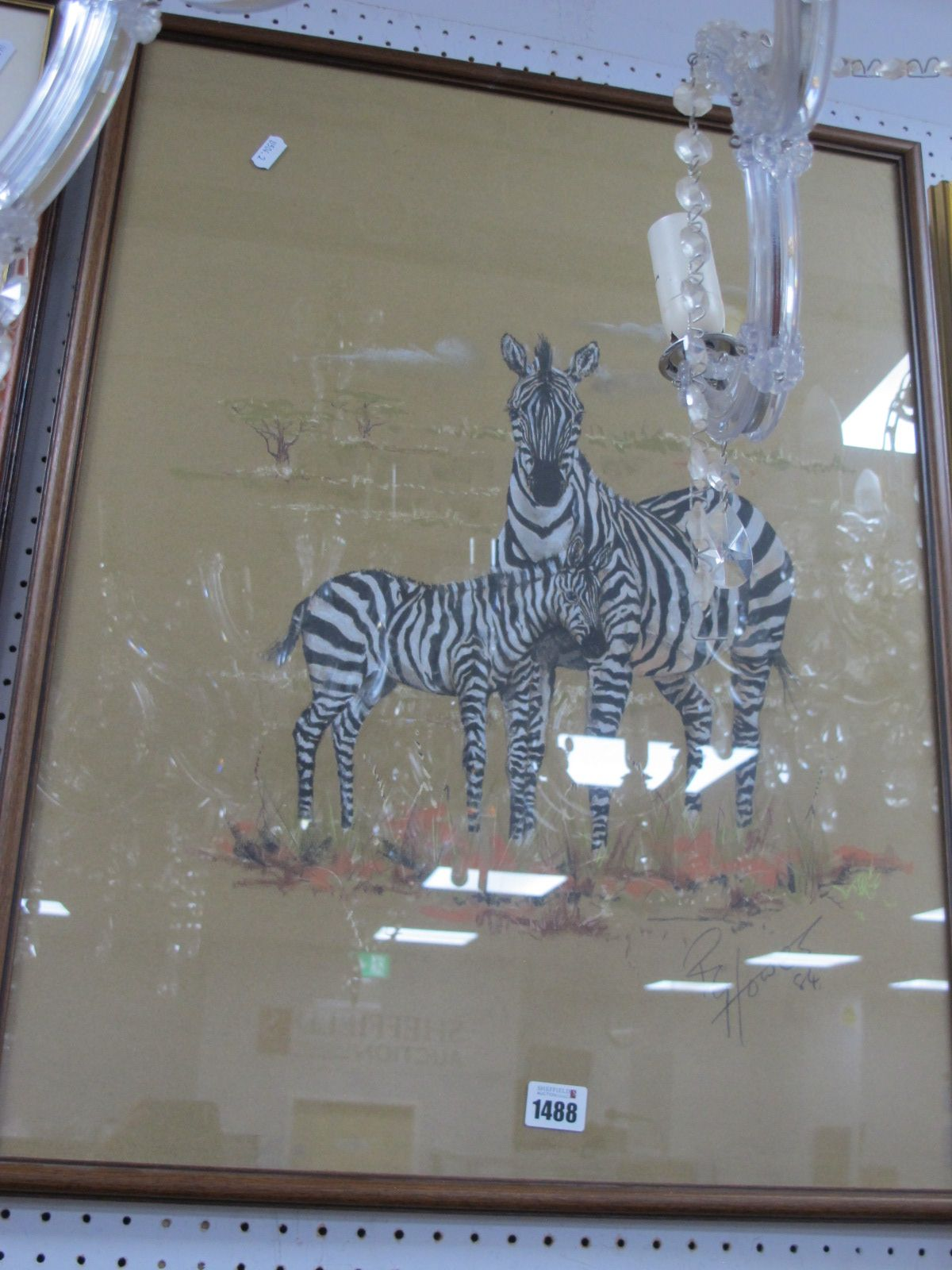 R.G Howes (Norfolk Artist) Zebra and foal, pastel drawing, signed and dated '84, 65.5 x 50cm.