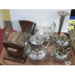Cooper Bros Four Piece Plated Tea Service, Walker & Hall fluted vase. Wooden book trough:- One