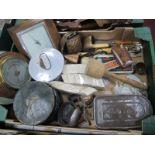 Oak Cased Barometers, collar box, Acme bait tin, razor, cow bells, cutlery, etc:- One Box.
