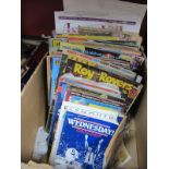 Football Programmes & Corinthian figures, Spiderman, Simpsons, Beano, Buttons and other magazines.