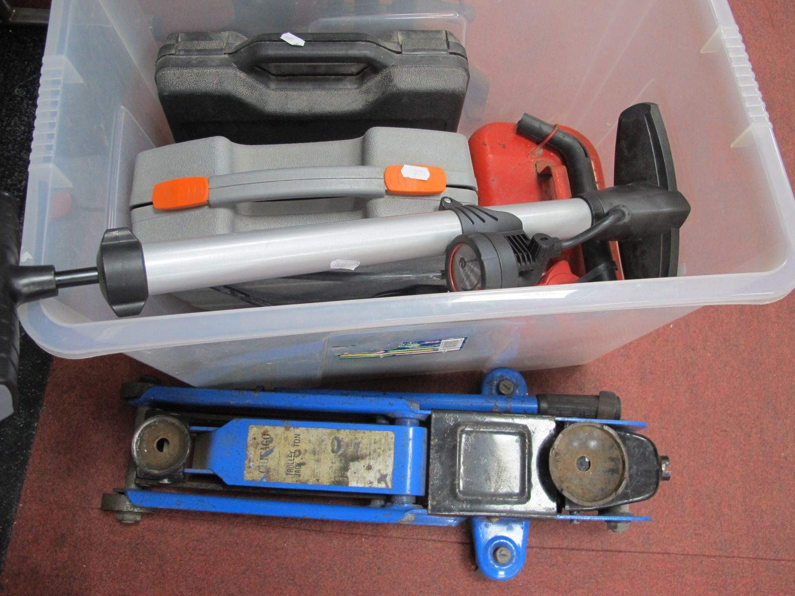 Challenger Xtreme Sander, Black & Decker saw, other tools petrol can:- One Box. Chicago trolley