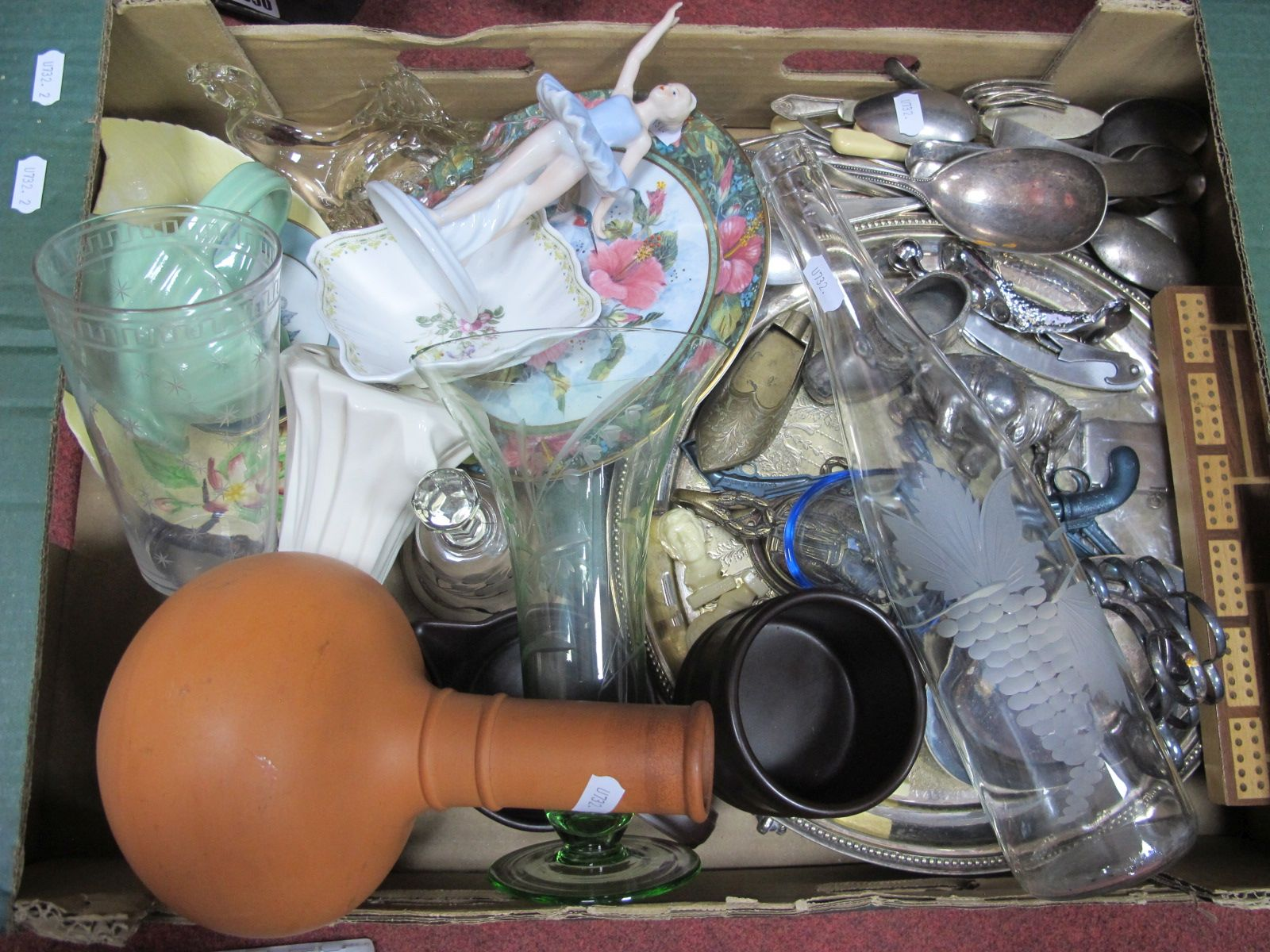 A Quantity of Plated Ware, glass and ceramics, to includes SBL, Ladel spoons, Portmeirion, etc.