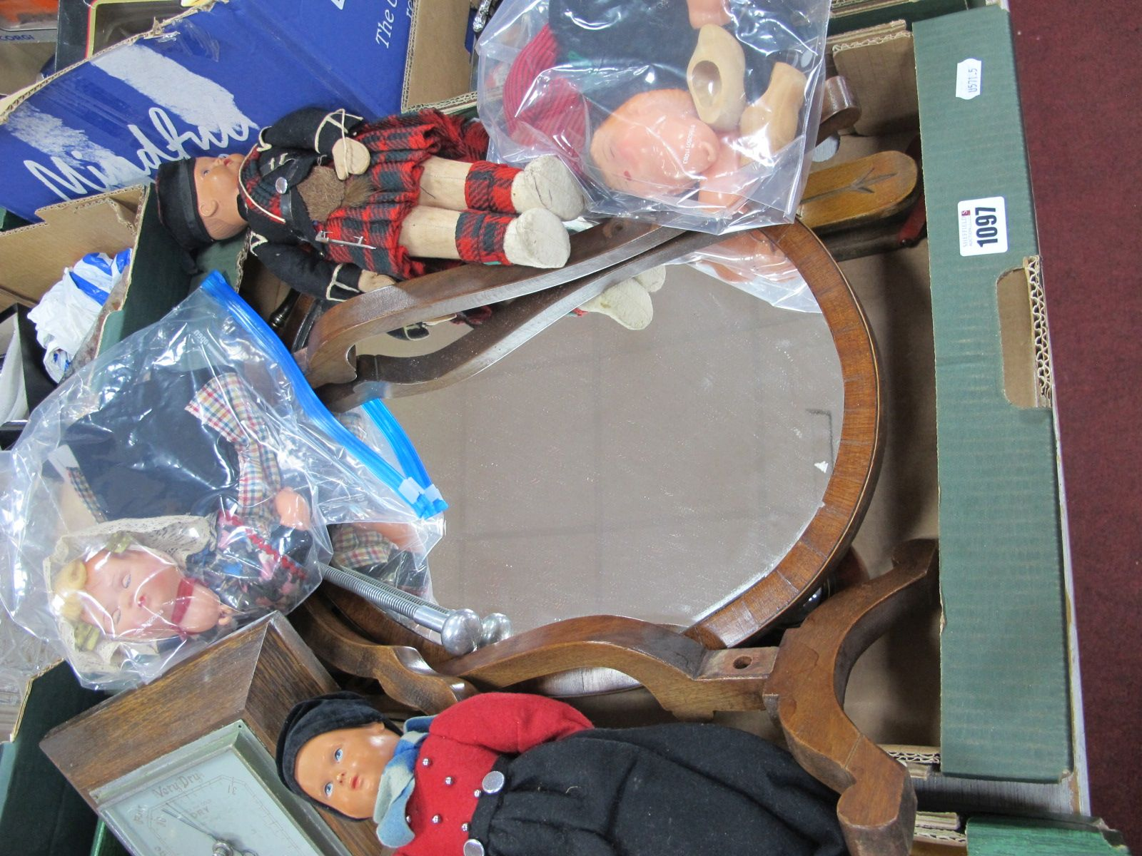 Bellows, dolls. dressing table mirror (damaged), one box, Vic-Tree shoe stretchers:- One Box