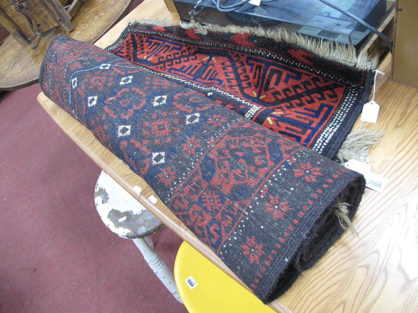 Middle Eastern Wool Tasseled Rugs, all similar with deep blue motifs, white central pips on a deep