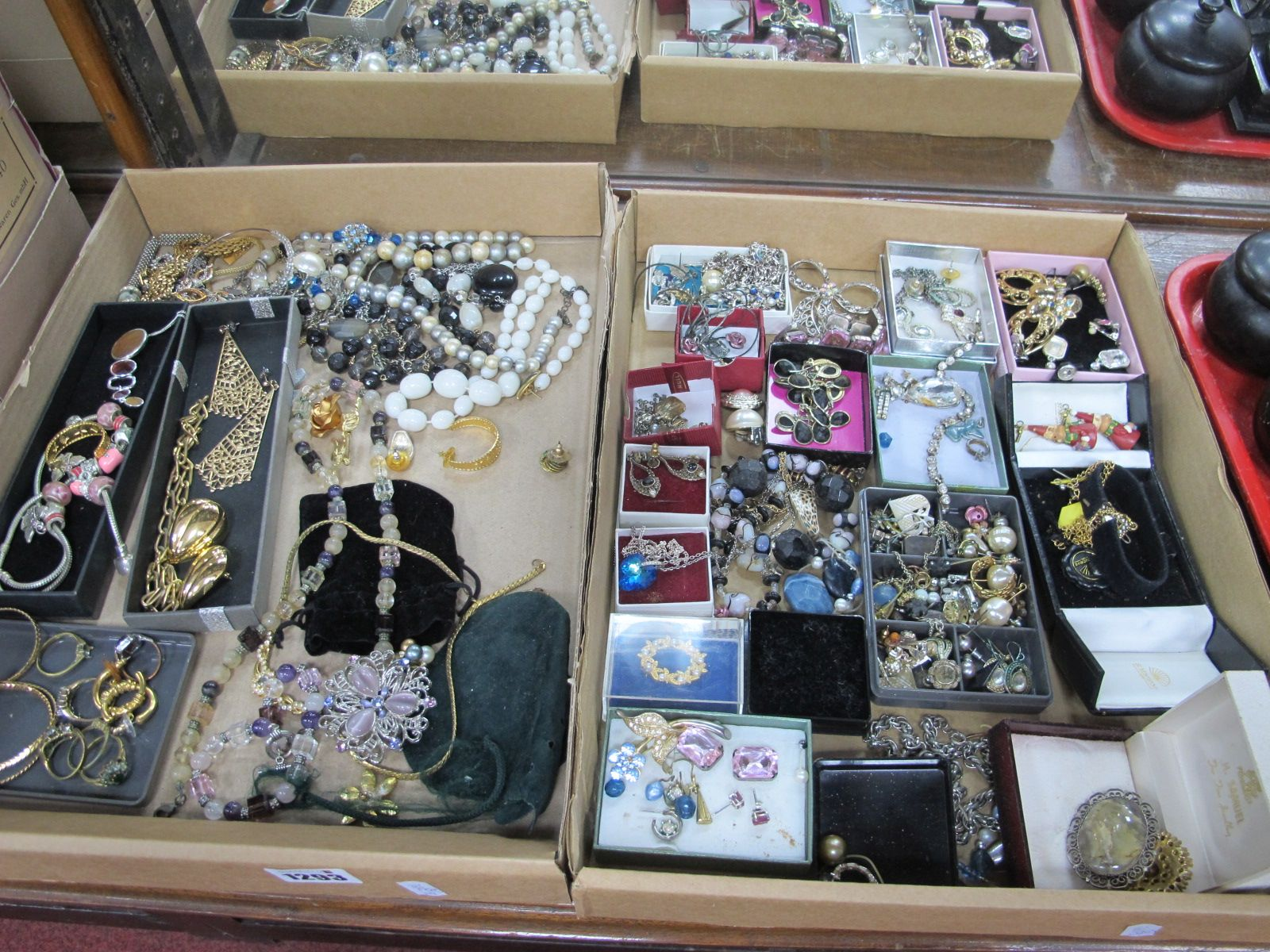 A Quantity of costume Jewellery, including silver earrings, brooches, necklaces, etc:- Two Boxes.