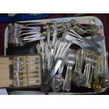 Plated Cutlery,A1 K Bright of Sheffield, approximately eighty eight pieces, cased spoons and forks:-