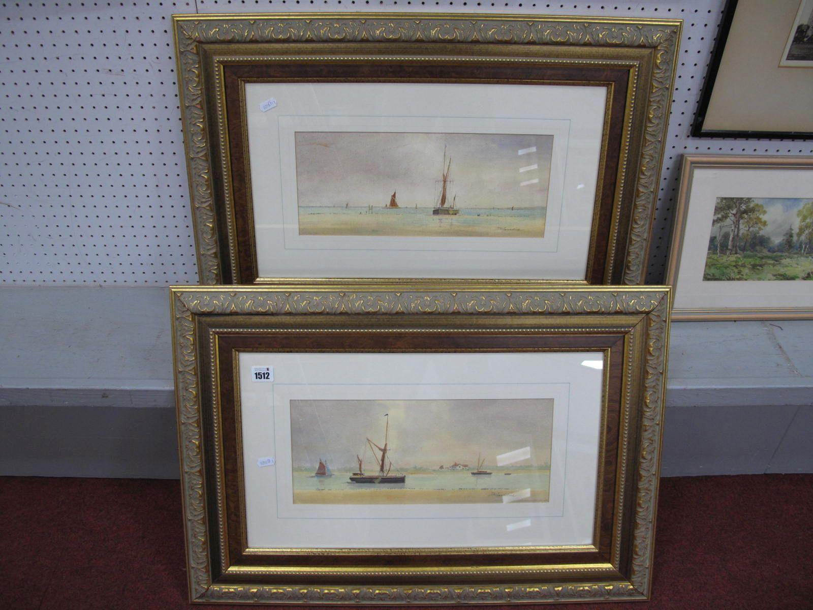 Des Harradine (Essex Artist), Tranquil Estuary Scenes, pair of watercolour's, 16 x 37.5cm, signed.