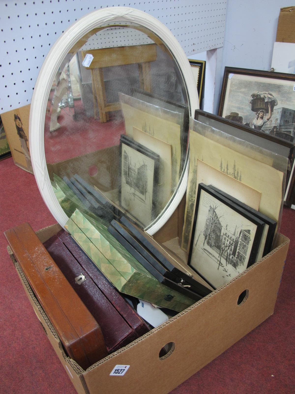 A Cased Set of Cutlery, mahogany box, prints, painted oval mirror, etc:- One Box.