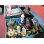 Chinese Pottery Figures, lions, plates, Lego, fishermans bag, magazines, etc:- Two Boxes.