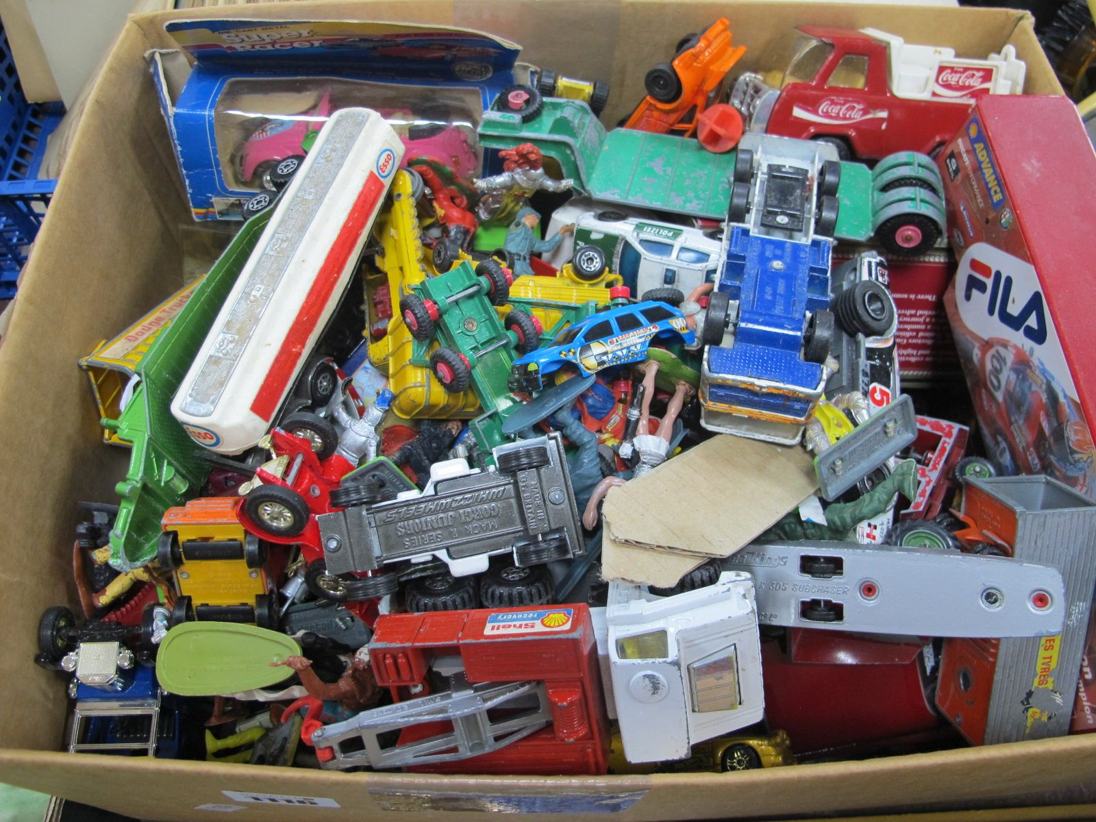 A Box Quantity of Diecast Vehicles, by various manufactures, all playworn.