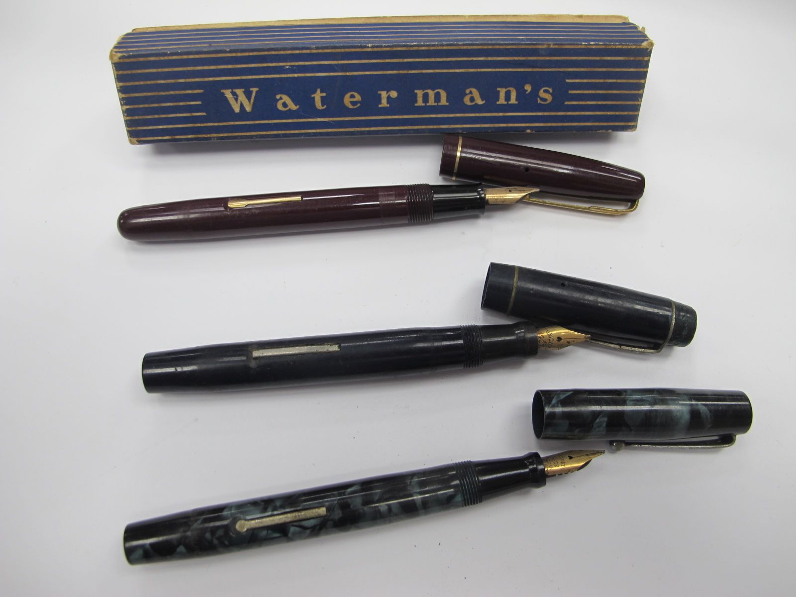 Pens with 14k Nibs, Waterman's W2 (boxed), The Atlas, Loxley Bros, 'The Unique. (3)